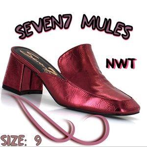 Seven7 heel loafers metallic pink size 9 NWT
